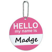 Madge Hello My Name Is Round ID Card Luggage Tag