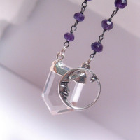 Sterling Silver Capped Crystal Quartz Point Necklace With Rosary Style Purple Bead Chain - Moon Charm Optional - Custom Chain Length