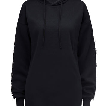 Black Circle Detail Long Sleeve Hoodie