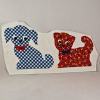 Small Gingham Patch Puppy Kitty and Fable Fabric by KTsVersion