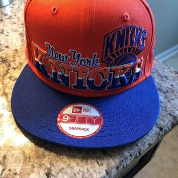 New Era NBA Team Color Royal Blue Orange New York Knicks 9Fifty Snapback Hat