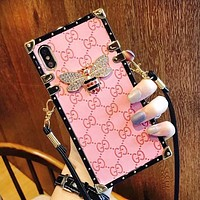 GUCCI Fashion New Diamond Bee More Letter Women Men Lanyard Protective Case Phone Case