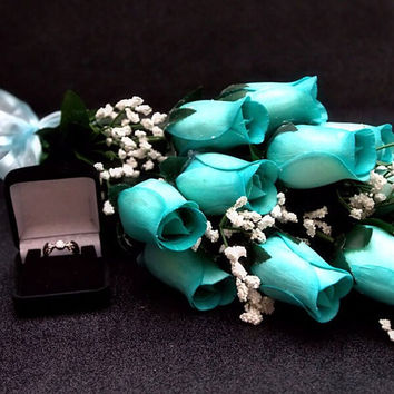 Baby Blue Wax Dipped Roses Bouquet