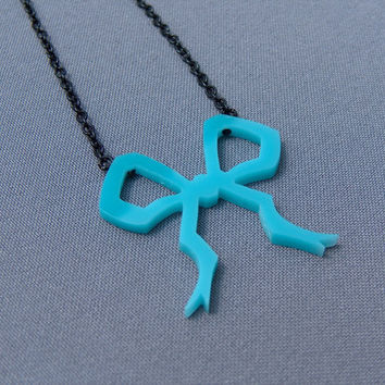 Handcut Blue Bow Necklace
