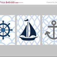Limited Time Sale 35% OFF Nautical Nursery Wall Art,Set of Three 8x10 prints, great for Pottery Barn Harper bedding, or toddler room, or as