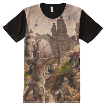 CAVE MAN ON THE ROCKS All-Over-Print T-Shirt
