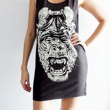 Monkey Apes Indie Rock Art Black Tank Top by SoYouThinkYouCanRock