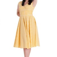Hell Bunny London Notting Hill Yellow Gingham Dress (XS)