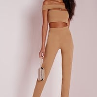 Missguided - Bandage Bardot Tapered Leg Jumpsuit Camel