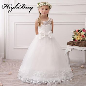 HighBuy 2017 Hot White Ivory Lace Tulle Flower Girl Dresses For Weddings Sash Bow Cap Sleeves Girls First Communion Dresses