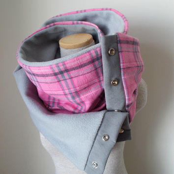Pink and Grey Plaid Snap Scarf