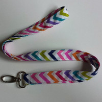 Rainbow Chevron Fabric Lanyard Multicolor Fashion Lanyard ID or Badge Holder Keys or Keychain Lanyard Womens Chevron Fashion Accessories