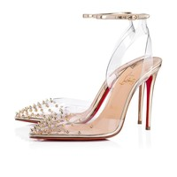 Christian Louboutin Cl Spikoo Transp/light Gold Pvc/specchio Pumps 3180074h334 - Best Online Sale