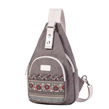 Women's Canvas Shoulder Bag Retro Style Daily Travel Small Backpacks Bag Female Casual Floral Chest Bags