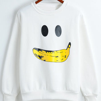 White Banana Print Long Sleeve Sweatshirt
