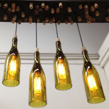 Hanging Barn Wood Light Fixture with Recycled Wine Bottle Pendants and Edison Bulbs
