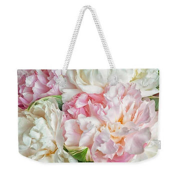 Pink Peony Weekender Shoulder  Bag. Pink Blooming Flowers Large Weekender Shoulder Bag