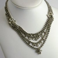 Vintage Rhinestone Necklace Bib Choker Style - Mid Century - Wedding Cocktail Party Jewelry - Clear Faceted Rhinestones