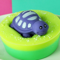 Soap - Turtle Toy Soaps - Kids Soap with Turtle Squirter Bath Toy on top - Sweetie Pie Sweet Grass Scent - Salt Sprinkled Goat's Milk Soap