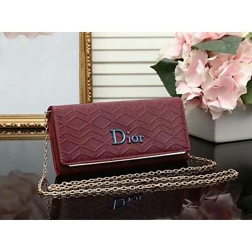 DIOR Women Fashion Shopping Leather Shoulder Bag Satchel Crossbody Wine red I-LLBPFSH