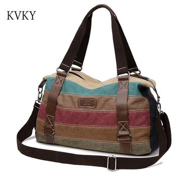 2017 Hot Designer Handbags High Quality Women Big Shoulder Bag Ladies Canvas Striped School Tote Bag Women Messenger Bags