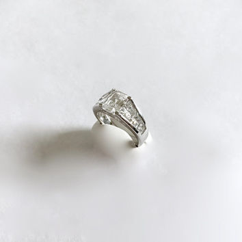 Elegant, Emerald Cut CZ, Sterling Silver Fancy Setting with Side Baguettes - Amazing Sparkle, Approximate Size 7