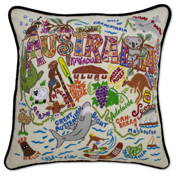 Australia Hand Embroidered Pillow