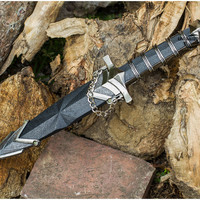 "11.5"" DARK ASSASSIN STAINLESS STEEL MEDIEVAL SHORT SWORD DAGGER w/ SHEATH Knife"