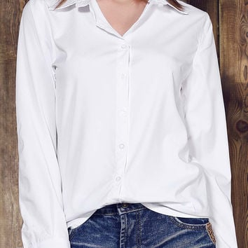 Solid Color Turn-down Collar Long Sleeve Basic Shirt