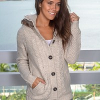 Taupe Knit Sweater with Fur Hood