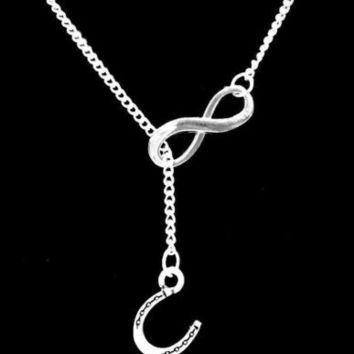 Horseshoe Cowgirl Rodeo Ranch Farm Girl Country Western Gift Infinity Necklace