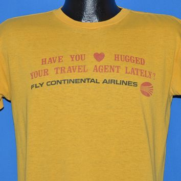 80s Continental Airlines Hug Your Travel Agent Distressed t-shirt Large