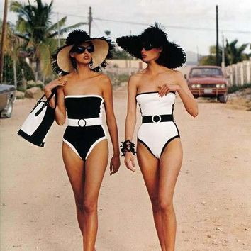 Black And White Strapless One Piece Swimsuit