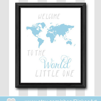 welcome to the world baby shower gift blue gray new baby decor custom baby boys room boy nursery art boy nursery ideas gift for new parents