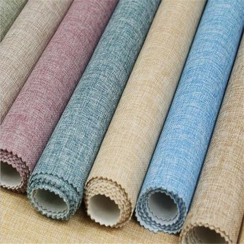 Plain Linen Wall Cloth Modern Wallpapers for Living Room Bedrooms Wall Papers Home Decor Blue Seamless Wallpapers Rolls Backdrop