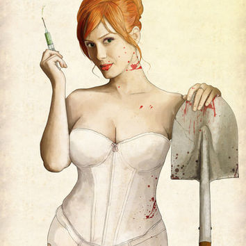 Slaughterhouse Starlets: Christina Art Print by Keith P. Rein