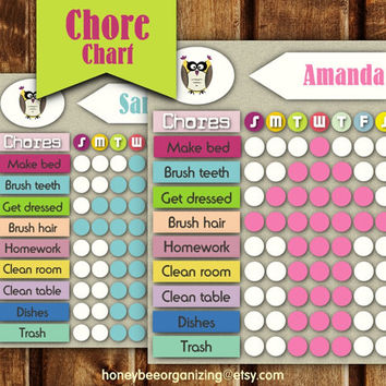 Kid's Chore Chart - Chore Charts for Children with Arrows  - Printable Chore Chart - Editable Chore Chart  - 8 PDF files - 8.5x11''