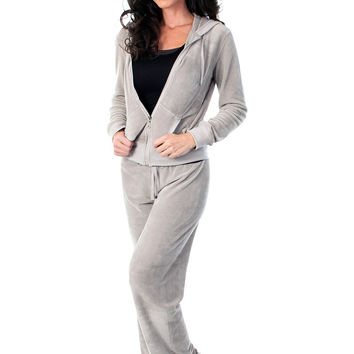 Velour Track Suit - Gray