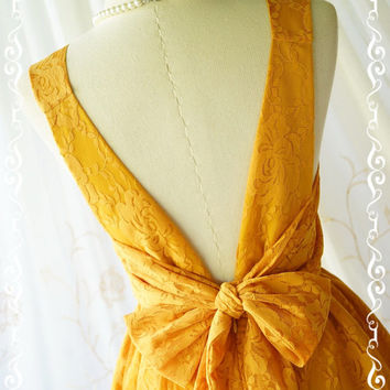 A Party V Charming Dress Mustard Lace Party Dress Prom Dress Mustard Lace Wedding Bridesmaid Dress Lace Backless Dress Hot Mustard XS-XL