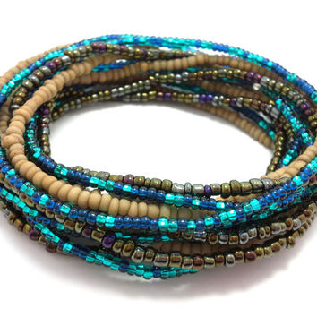 Seed bead wrap stretch bracelets, stacking, beaded, boho anklet, bohemian, stretchy stackable multi strand, khaki brown iris blue teal