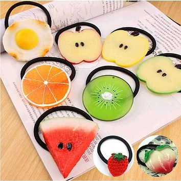 New Summer Style Many Patterns Fruits Slice Hair Accessories for Girls Kids Women Elastic Hair Bands Rubber Bands Gum Headwear