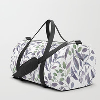 Purple and Green Watercolor Botanicals Duffle Bag by DazzetteMarie