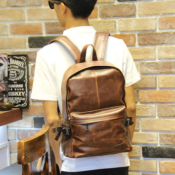 Men's Brown 15 Inch Laptop Bag Leather Backpack Daypack Travel Bag
