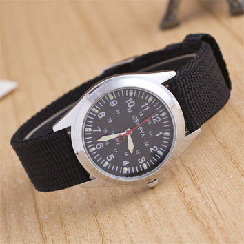 Unisex Hight Quality Black Canvas Strap Watch Womens Mens Retro Casual Sports Watches + Beautiful Gift Box