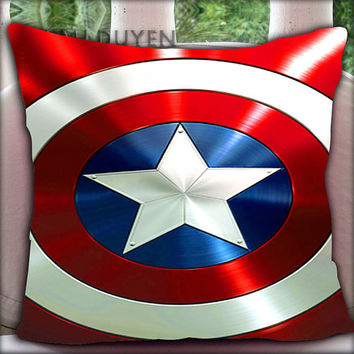 Captain America Shield - Pillow Cover Pillow Case and Decorated Pillow.