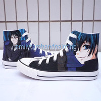 Custom Black Butler Paint on Converse Sneakers