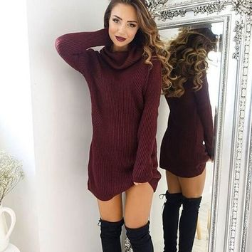 fashion turtleneck sweaters dress free christmas gift random necklace  number 1