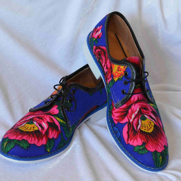 Men Oxford shoes Electric blue flower pattern Oxford shoes Black flower Oxford shoes