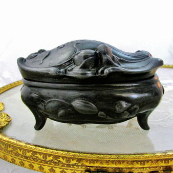 Antique Jewelry Box Casket Black Metal W.B. Mfg. Co Raised Floral Art Nouveau Chicago World Fair Souvenir Advertising Collectible Item 1429