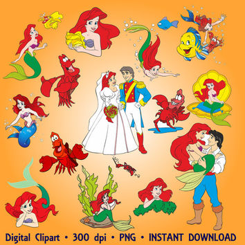 The Little Mermaid Clipart Sea Party Ariel Clip Art Set 25 PNG Invitations Printable Disney Digital Clipart Graphic 300 dpi INSTANT DOWNLOAD
